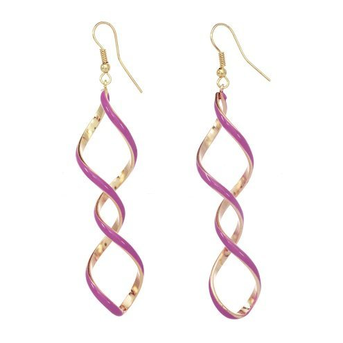 alexa-starr-6089-ep-pnk-silvertone-or-goldtone-enamel-linear-twisted-earrings-pink
