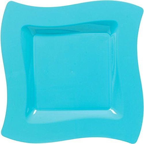 "Amscan Party Perfect Premium Wavy Square Plates Tableware Supplies (120 Piece), Caribbean Blue, 10"" by Amscan"