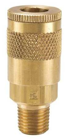 Parker Hannifin B12 Series 10 Brass Pneumatic Quick Coupler, Male Pipe Thread, 1/4'' Size, 1/4''-18 NPTF Port
