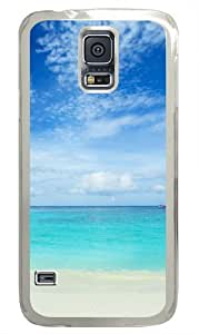 Blue sea and white sand Polycarbonate Hard Case Cover for Samsung S5/Samsung Galaxy S5 Transparent