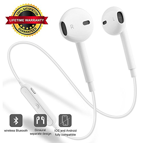 2019 Bluetooth Headsets Wireless Bluetooth Headphones, V4.1 Bluetooth Headsets, Built-in Mic Stereo Sound Waterproof Earphones (White)