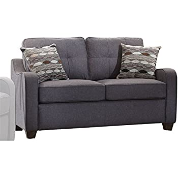 acme furniture cleavon ii loveseat with 2 pillows gray linen