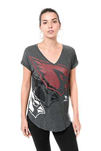 Icer Brands NFL Arizona Cardinals Women's T-Shirt V-Neck Soft Modal Tee Shirt, Small, Gray