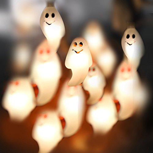 Halloween light string bat spider ghost pumkin warm white light string (Little (Light Up Ghost String Prop)
