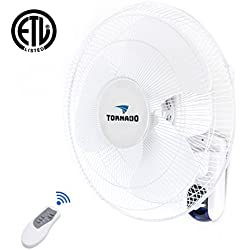 Tornado 16 Inch Digital Wall Mount Fan - Remote Control Included - 3 Speed Settings - 3 Oscillating Settings - 65 Inches Power Cord - ETL Safety Listed