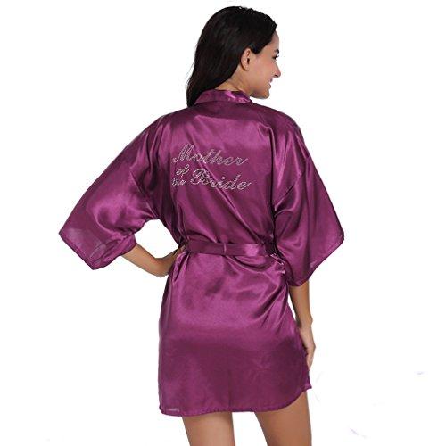 BOYANN Madre Della Sposa Cristallo Vestaglie e Kimono Pigiami e Camicie da Notte Viola Scuro