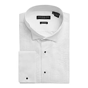 London Fog Men's Wingtip & Laydown Collar French Cuff Tuxedo Shirt