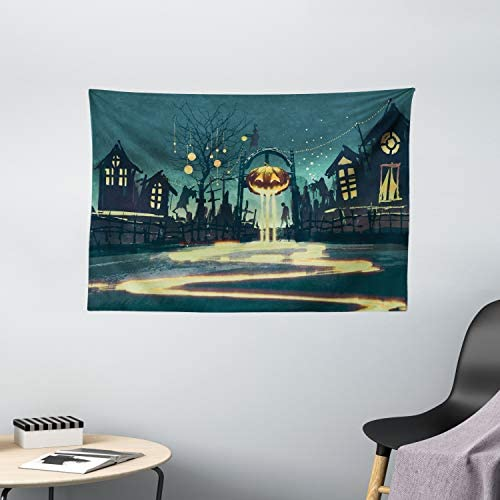 Ambesonne Fantasy Tapestry, Halloween Theme Night Pumpkin and Haunted House Ghost Town Design Print, Wide Wall Hanging for Bedroom Living Room Dorm, 60 X 40 , Orange Teal
