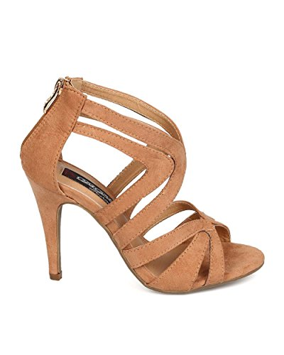 Dbdk Eh81 Mujer Faux Suede Peep Toe Strappy Stiletto Sandal - Camel