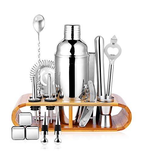 Stainless Cocktail - 25oz Stainless Steel Cocktail Shaker Bar Set, Bartender Kit with Stand, Bar Tools Set, Martini Bar Mixer Set with Strainer - Cocktail Shaker with Recipes - 19 Piece Professional Bar Accessories