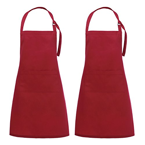 VEEYOO Adjustable Bib Apron with 2 Pockets, 2Pack, Durable, Cooking Apron, Restaurant Bar Kitchen Aprons for Women Men, 28 x 32 inches, Red -