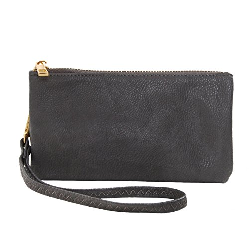 Humble Chic Vegan Leather Wristlet Wallet Clutch Bag - Small Phone Purse Handbag, Charcoal Grey, Dark Gray (Camo Wallet Clutch)