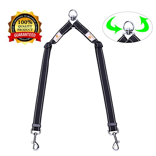Adjustable Dog Leash Coupler - Snagle Paw Double Dog Leash Coupler - No Tangle Double Dog Walking & Trainning Leash, Adjustable 1