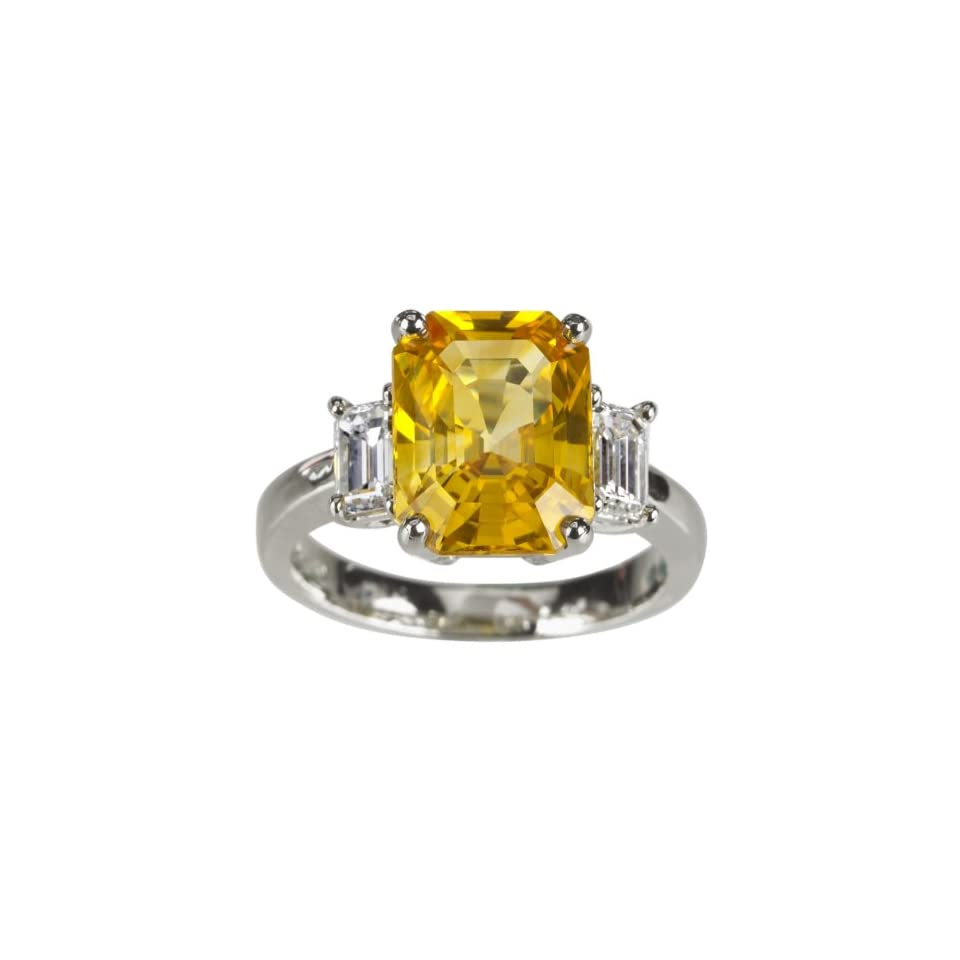 Platinum Yellow Sapphire Ring with Emerald Cut Diamond Side Stones (5.69 ct yellow Sapphire center, 0.91 cttw Diamond), Size 6