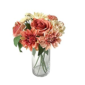 Rae's Garden Artificial Flowers Realistic Fake Flowers Silk Rose Dahlia Daisy Flower Bouquet Bride Bridesmaid Holding Flowers for Wedding Party Kitchen Home Decorations (DL_Orange) 47
