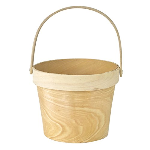 Willow Plant Stand - Time Concept Mercato Wood Plant Basket with Handle - Large - Natural Cream Color, Home Planter Décor
