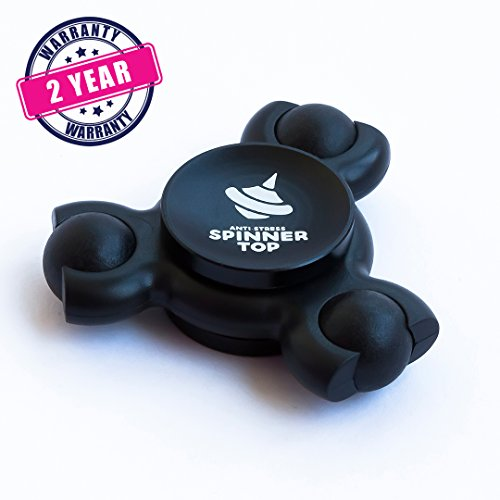 Anti-Stress Spinner Top | Relieves from stress and bad habits! Relax, Focus, Relieve - with innovative, upgraded 2017 fidget spinner. All Black Premium Color