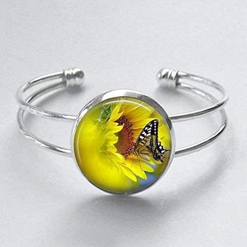 Sunflower Butterfly Cuff Bracelet Handmade 25mm Silver Plated - Sunflower Mariposa
