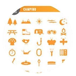 alfombrilla de ratón 30 iconos: camping_orange - ronda - 20cm