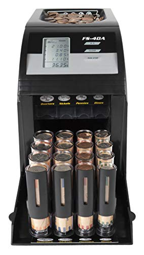 Royal Sovereign 4 Row Electric Coin Counter, With Patented Anti-Jam Technology & Digital Coin Counting Display (FS-4DABK)