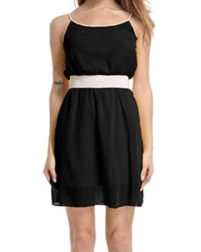 Sling Coolred Waist Black Chiffon Smocked Sleeveless Dresses Fashionable Women q771w4ZF