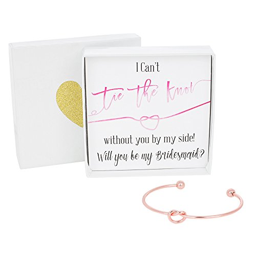Bridesmaid Gifts - Tie The Knot Bridesmaid Bracelet w/ Gift Box, Bridal Party Gift Sets , Adjustable Love Knot Cuff Bracelet (Gold, Rose Gold, Silver) (Pink Note_Rose Gold Bracelet) ()