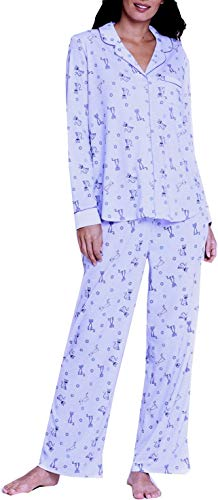 n's Pajamas PJ Set (X-Large, Cats Print - Small Flowers - Lilac with Purple Piping Trim) ()