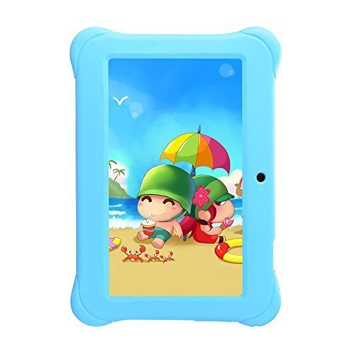 Alldaymall Tablets For Kids, 7' Quad Core with Wi-Fi and Dual Camera, Android 4.4, 8GB+1GB, HD Kids Edition w/ iWawa Pre-Installed Bundle with Blue Kid-Proof Silicone Case