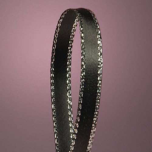 Black Satin Ribbon with Silver Border, 1/4