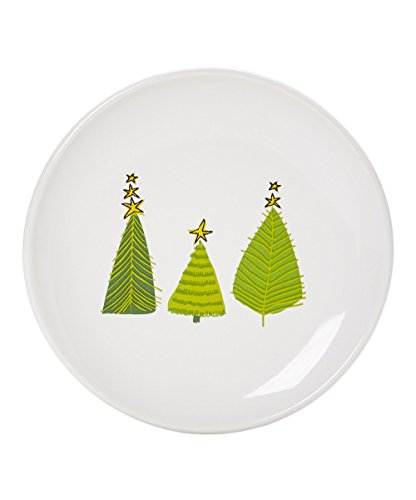 Signature Housewares Set of 6 Plates with Iron Caddy, Holiday Trees Design