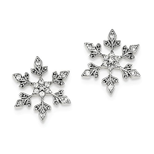Sterling Silver Snowflake CZ Post Earrings by JOlivers