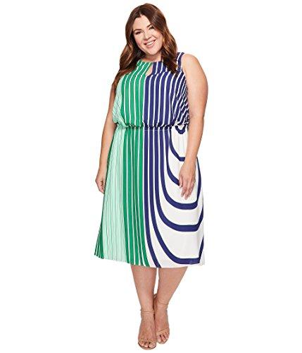 [アドリアナパペル] Adrianna Papell レディース Plus Size Beta Stripe Printed Georgette Blouson Halter Midi Dress ドレス Green Multi 20W [並行輸入品]