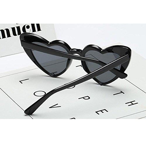 sol forma las para mujeres espejo nbsp;Negro Retro talla HD de de gafas C5 marco AOLVO única corazón niñas ligero gafas C1 Con UV400 Cute plástico de wXdxaqXT