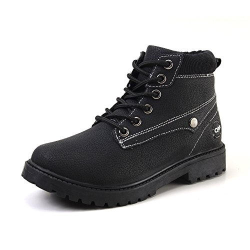 CLAMON Kids Black Leather Combat Boots Classic Fashion Waterproof Boots For Girls Boys