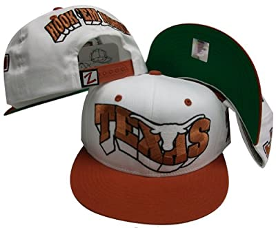 Texas Longhorns White/Orange Two Tone Plastic Snapback Adjustable Plastic Snap Back Hat / Cap