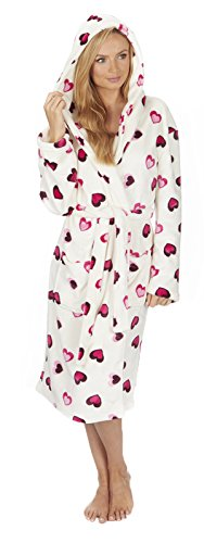 Florentina Women's Soft Hooded Robe White with Hearts (L)