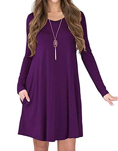 AIDIER Women's Soft Casual Loose Plain Pocket Flowy Tunic T-Shirt Swing Tunic Dress -