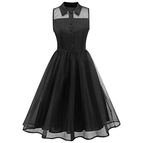 HYIRI Silod Spring Dress,Women's Vintage Vintage Country Rock Cocktail Dress Black ()