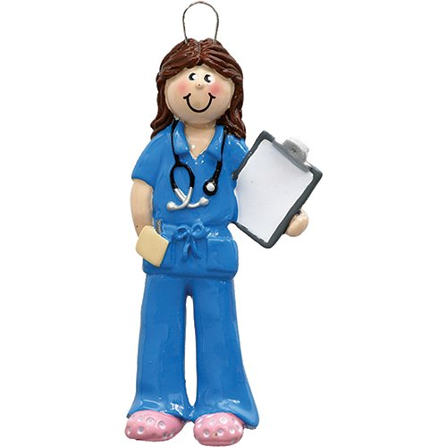 Personalized Scrubs Woman Christmas Tree Ornament 2019 - Brown Hair Nurse Practitioner Medical Health Care Blue Prescription New Job Coworker Girl Year - Free Customization (Brunette Female) (Best Christmas Gifts 2019 For Women)