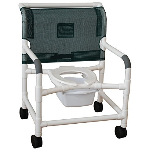 MJM International 126-5-BAR Bariatric Shower Chair, Standard Toilet Seat, 5'' Casters, 600 oz Capacity, 40'' Height x 30'' Width x 29.5'' Depth, Royal Blue/Forest Green/Mauve