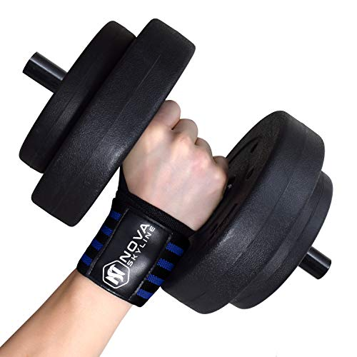 20 Wrist Wraps for Weight Lifting, Bodybuilding, CrossFit, Exercise, Powerlifting, Yoga and Strength Training. Professional Grade Wrist Support. Black, Red, Orange, Blue, Gray, Blue Camo. (Blue)