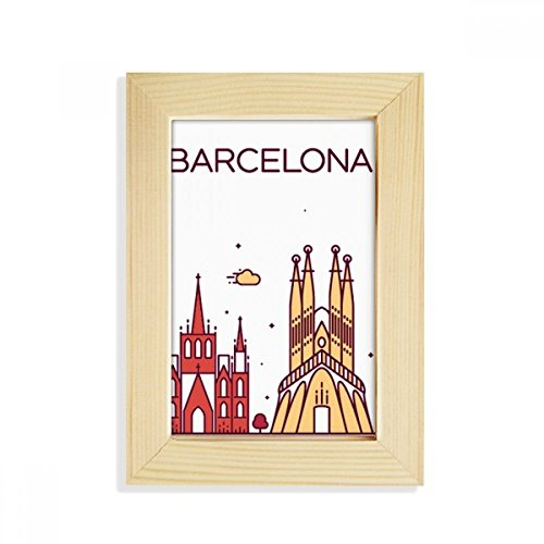 DIYthinker Barcelona Spain Flat Landmark Pattern Desktop Wooden Photo Frame Picture Art Painting 5x7 inch by DIYthinker