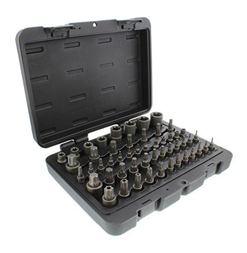 "ABN Star Torx Bit Socket 52-Piece Set – SAE 1/4, 3/8, 1/2"" Inch 4-Point Square Drive T6–T70, E4–E24, TP8–TP60, TT8–TT60"