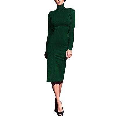 ZHRUI Vestido hasta la Rodilla para Mujer, Vestido de Cuello Alto para Damas, suéter de Manga Larga y Tejido de Punto (Color : Verde, tamaño : X-Large): Hogar