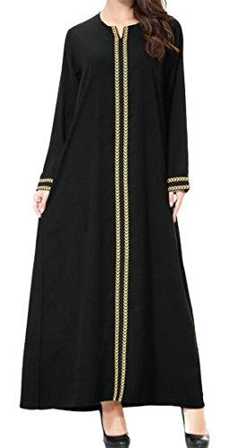 Cromoncent Women's Long Sleeve Muslim Abaya Saudi Arabia Elegance Robe Long Dress Golden L