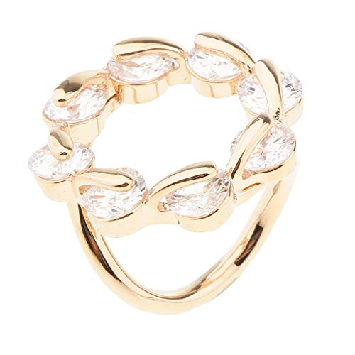 Zircon Crystal String Rounf Scarf Ring Buckle Clip Holder Pin Buckle Jewelry | Color - Rose Gold]()