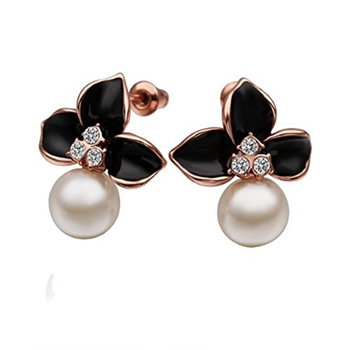 Stud Earrings with Zircon Rhinestone Black Flower for Women (Simulated Pearl Rhinestone Earrings)