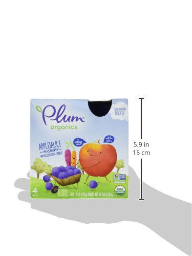 Plum Organics Mashups, Organic Kids Applesauce, Blueberry & Carrot, 3.17 ounce pouch, 4 count (Pack of 6) by Plum Organics (Image #3)
