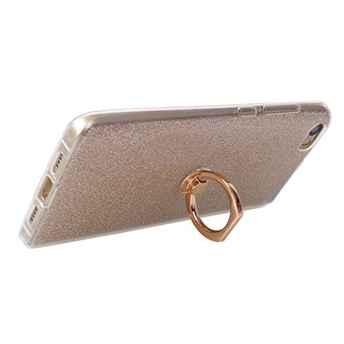Xiaomi MI 5 Funda con Anillo, Xiaomi Mi5 Carcasa, Moon mood® Suave TPU + Papel Brillo Hybrid 2 en 1 con 360 Rotación Anillo Soporte Función Bling Glitter Sparkle Silicona Trasero Caso Cubierta Protect Dorado