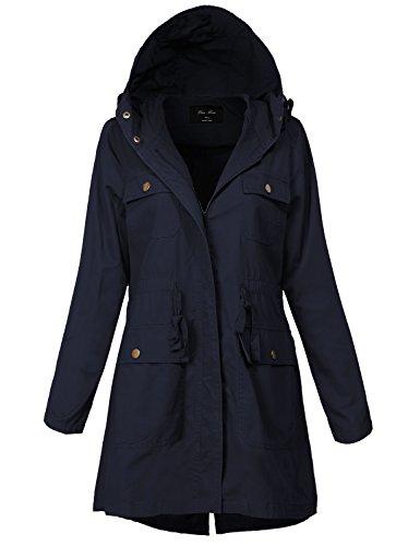 Plus Size Warm Waist String Essential Hooded Utility Jackets